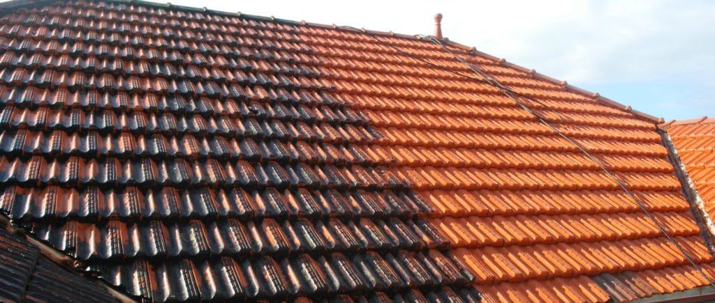 Terracotta roof restoration in Brisbane cleaned