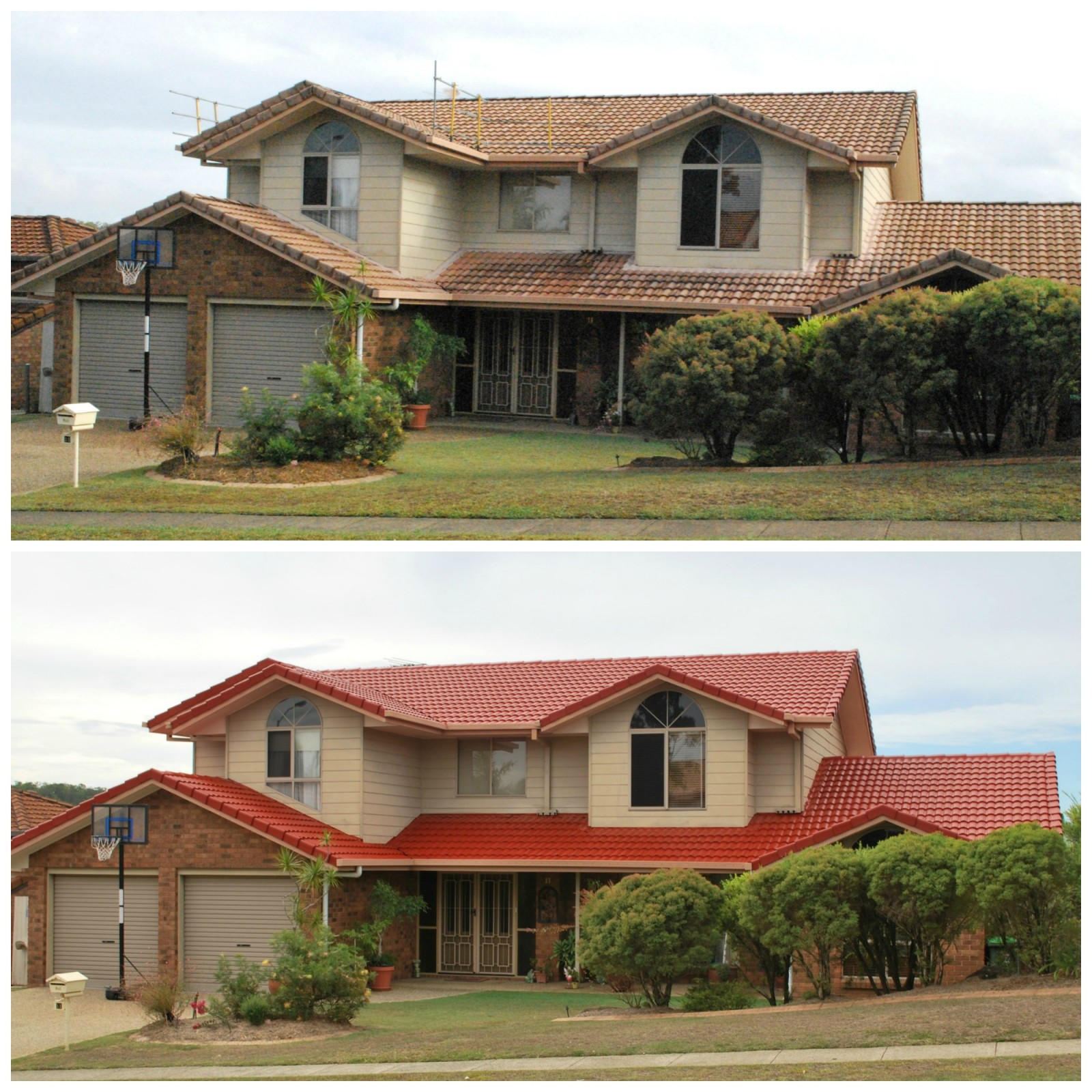 Roof Restoration Before and After Carindale no logo