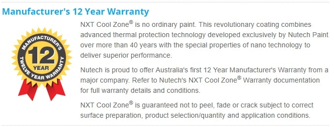 Nutech NXT Cool Zone Warranty