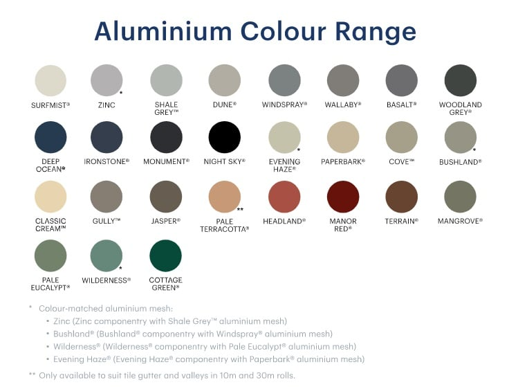 Gutter Guard Colour Range
